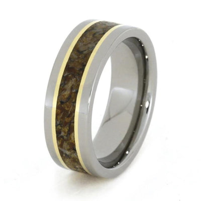 Yellow Gold Fossil Ring With Titanium