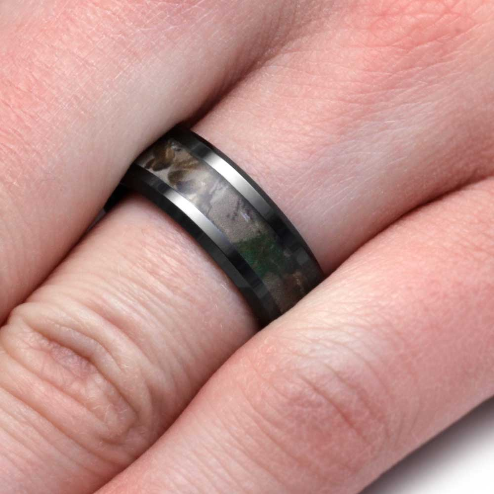 Camo Wedding Ring with Black Ceramic Wedding Band, Size 10 - Jewelry ...