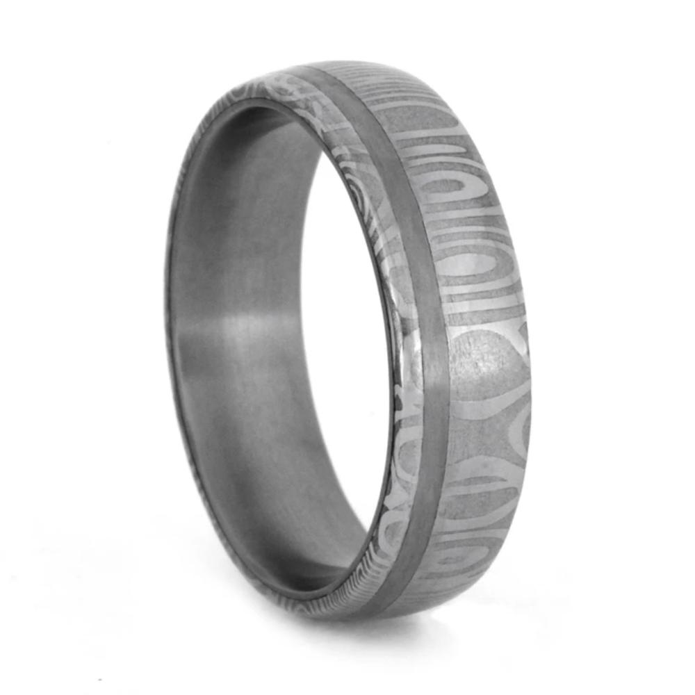 Damascus Wedding Band With Stainless Steel Pinstripe And Sleeve-1789 - Jewelry by Johan