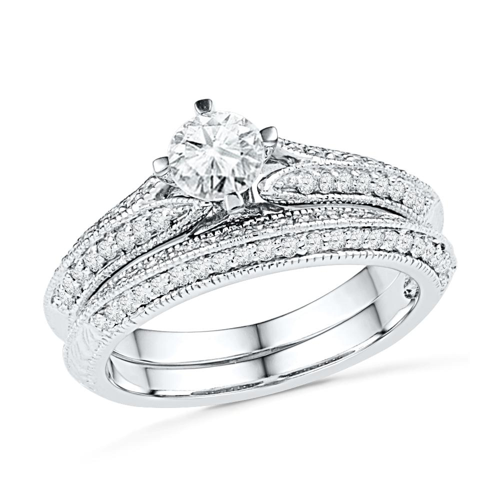 Sterling Silver Vintage Style Engagement Ring Set-SHRB030538-SS - Jewelry by Johan