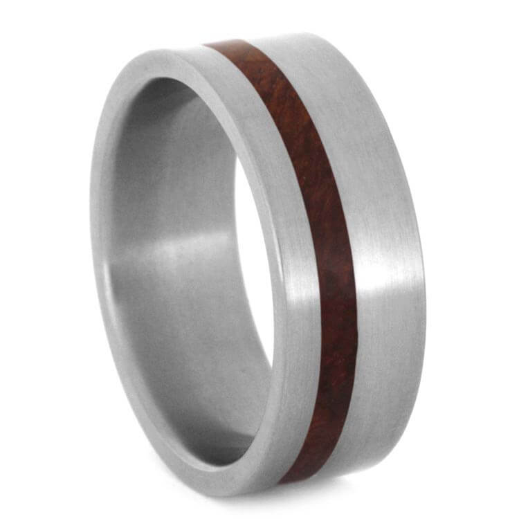 Amboyna Burl Wedding Band, Matte Titanium Ring-2739 - Jewelry by Johan
