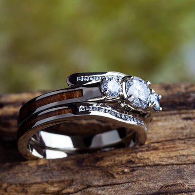 Koa Wood Bridal Set, Three Stone Engagement Ring, White Gold Wedding Band-2657 - Jewelry by Johan