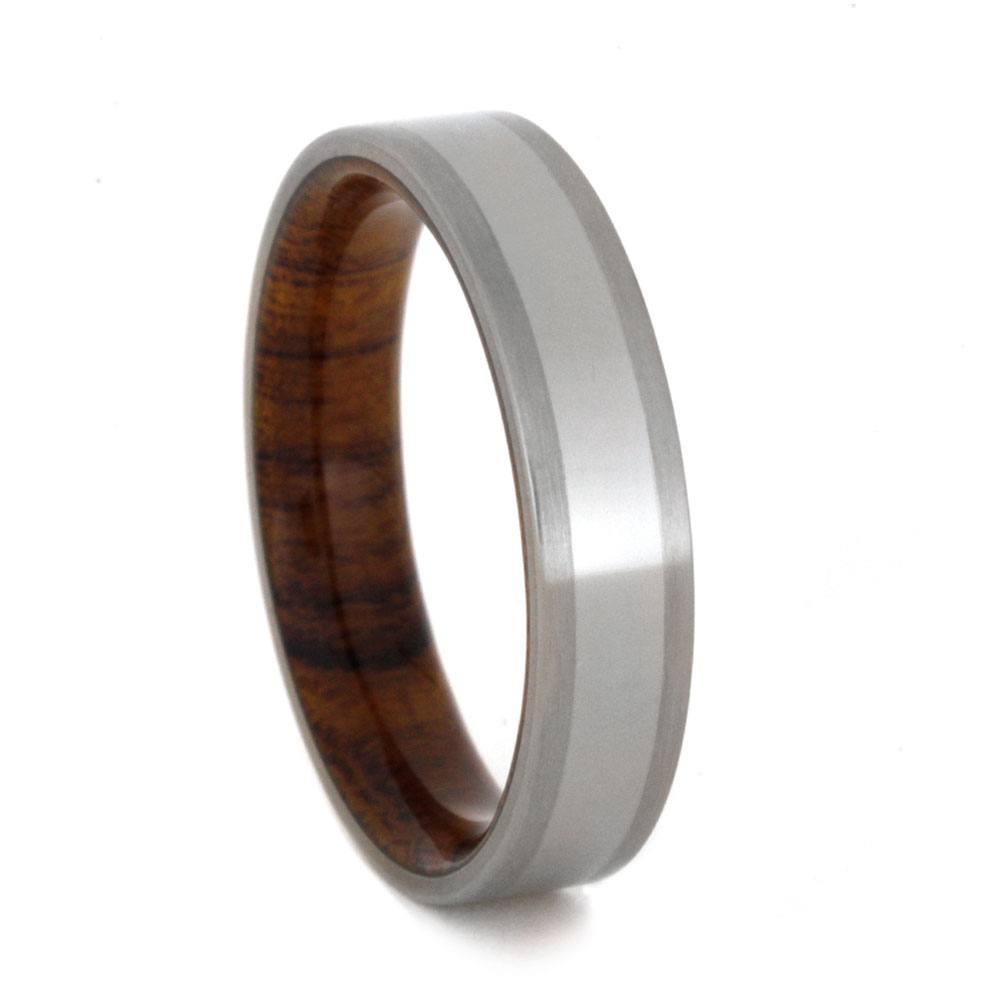 Titanium Wedding Band With Ironwood Sleeve, Size 9.5-RS9229 - Jewelry by Johan