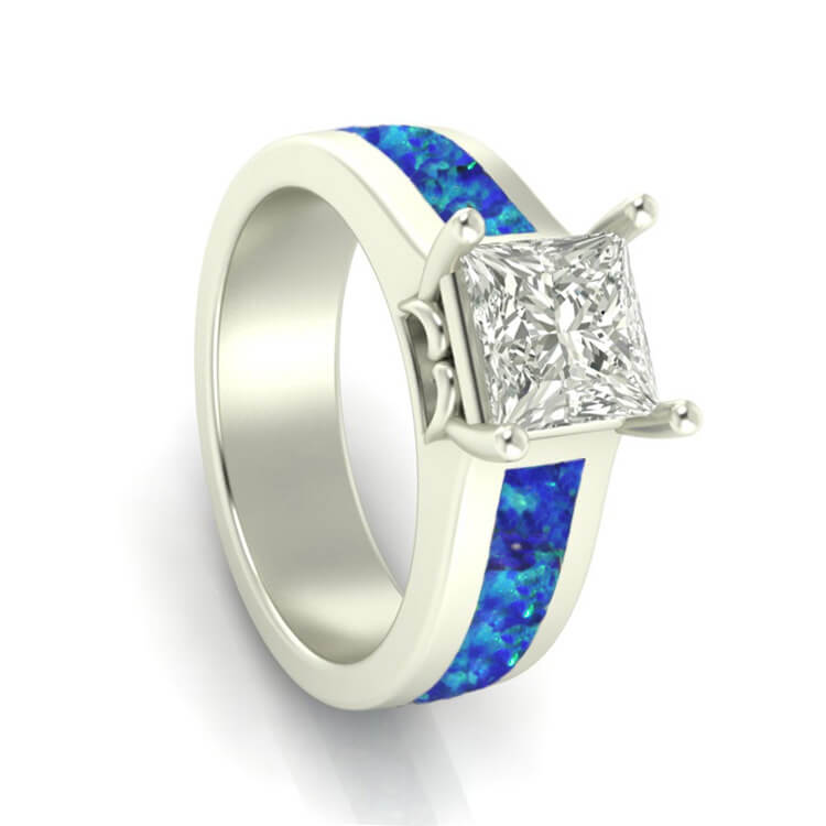 Moissanite Engagement Ring With Crushed Synthetic Opal, White Gold Ring-3513