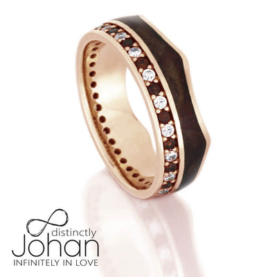 Crown Ring, Gemstone Eternity Wedding Band in 14k Rose Gold With Wood-DJ1020RG - Jewelry by Johan