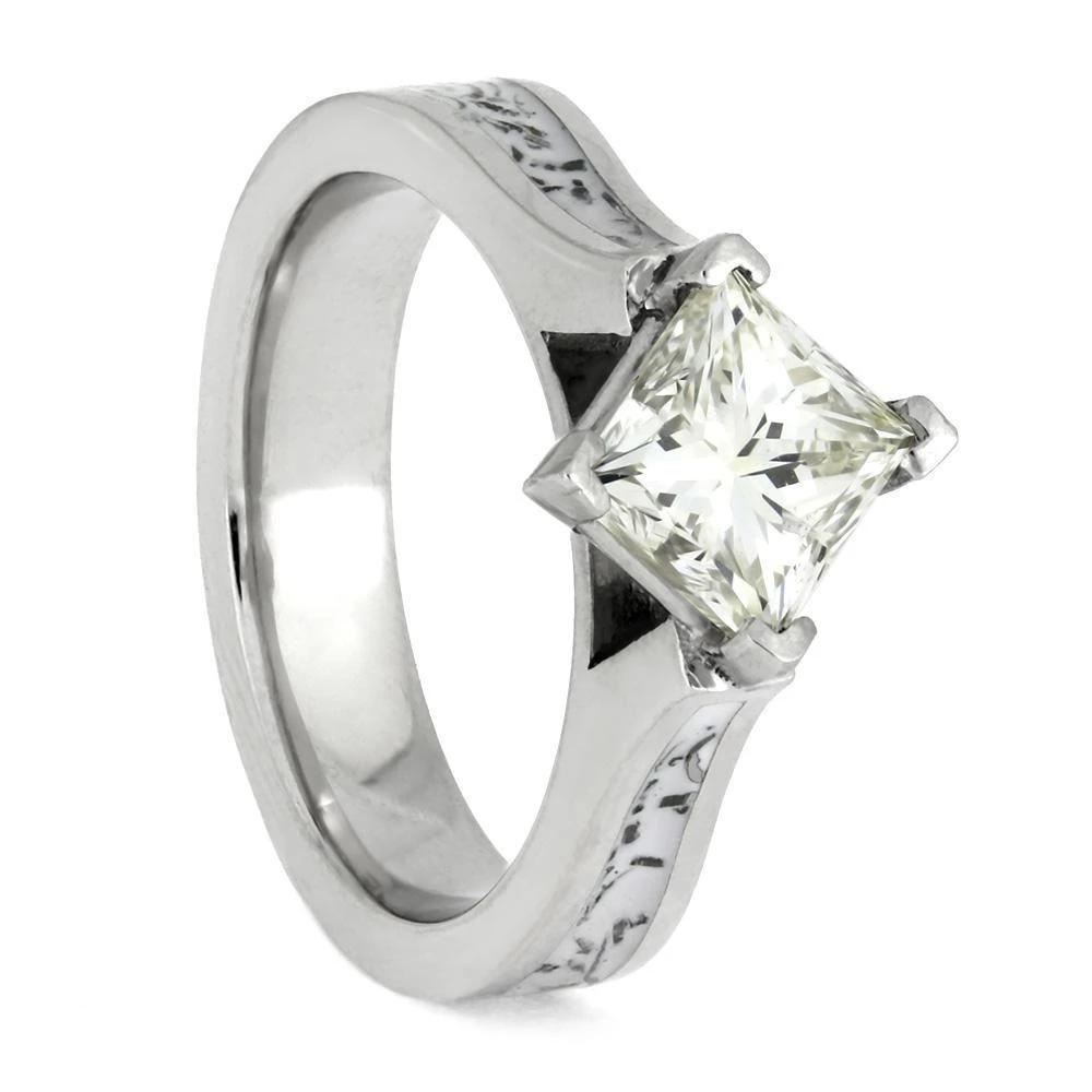 Platinum Solitaire Engagement Ring With Stardust™ Meteorite Inlay-4004 - Jewelry by Johan