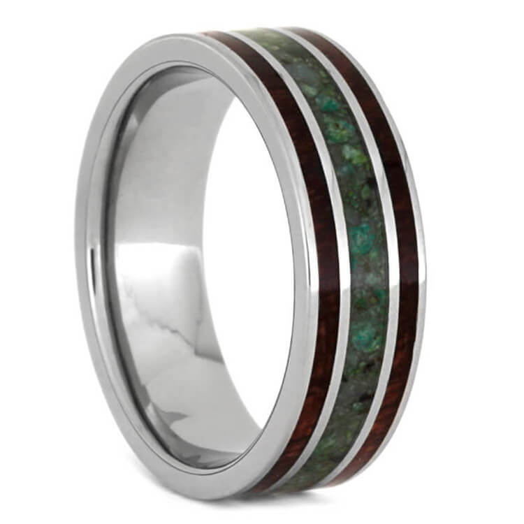 Bubinga Wood Ring With Chrysocolla, Titanium Wedding Band-3588 - Jewelry by Johan
