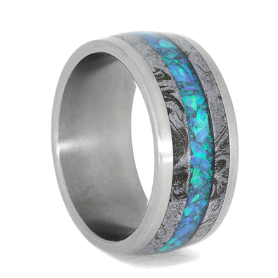 Opal Wedding Band.Opal Wedding Band With White Mokume Matte Titanium Unisex Wedding Band 4009