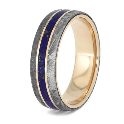 Lapis Lazuli and Rose Gold Wedding Band