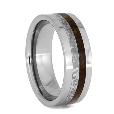 Men's Meteorite Ring With Dinosaur Bone, Tungsten Wedding Band With Flat Profile-4013 - Jewelry by Johan