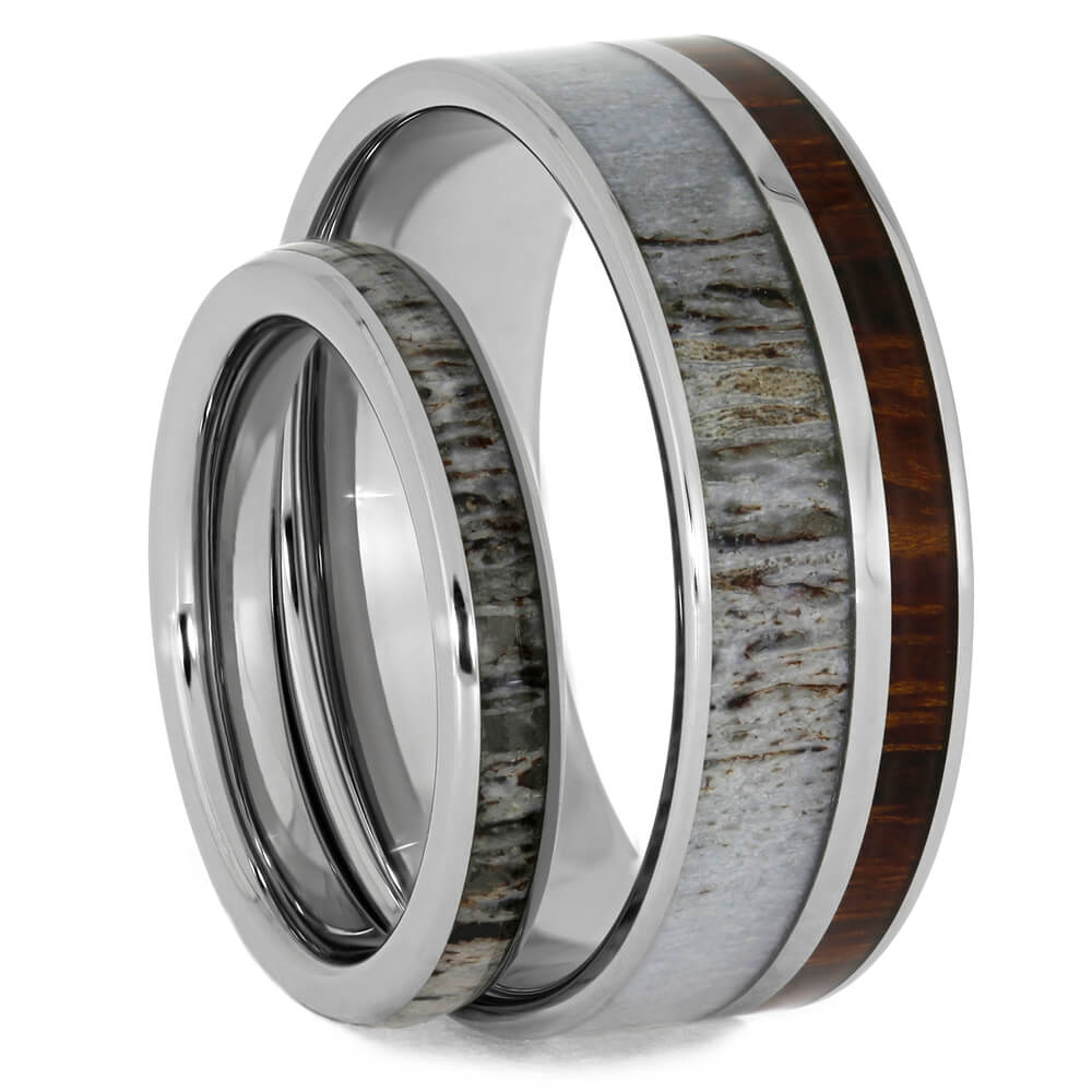 His & Hers Matching Deer Antler Wedding Band Set-4014 - Jewelry by Johan