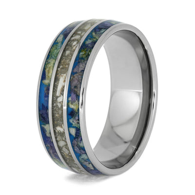 Pet Memorial Ring with Flower Petals in Titanium-4016 - Jewelry by Johan