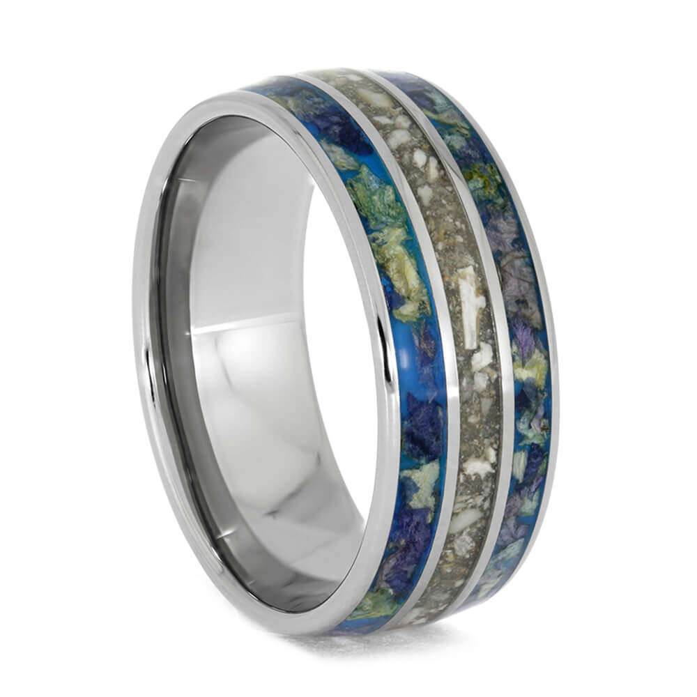Memorial Ring with Flower Petals in Titanium-4016 - Jewelry by Johan