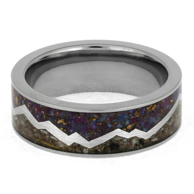 Pet Ash Mountain Memorial Ring, Crushed Turquoise Ring in Titanium-4018 - Jewelry by Johan