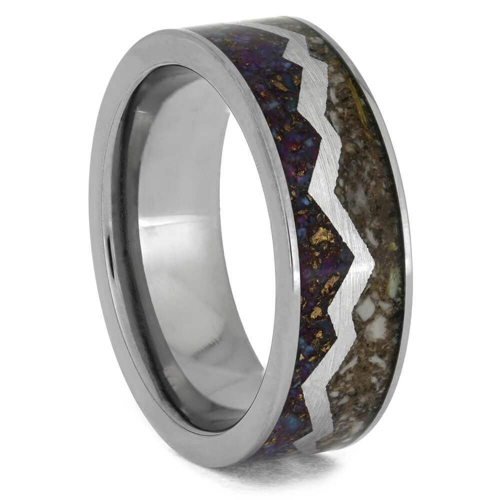 Mountain Range Design Wedding Band