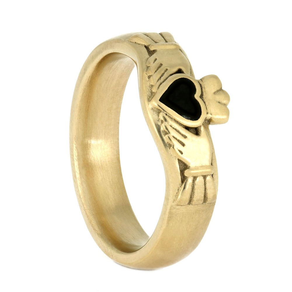 Jade Claddagh Ring, Yellow Gold with Matte Finish-4020 - Jewelry by Johan