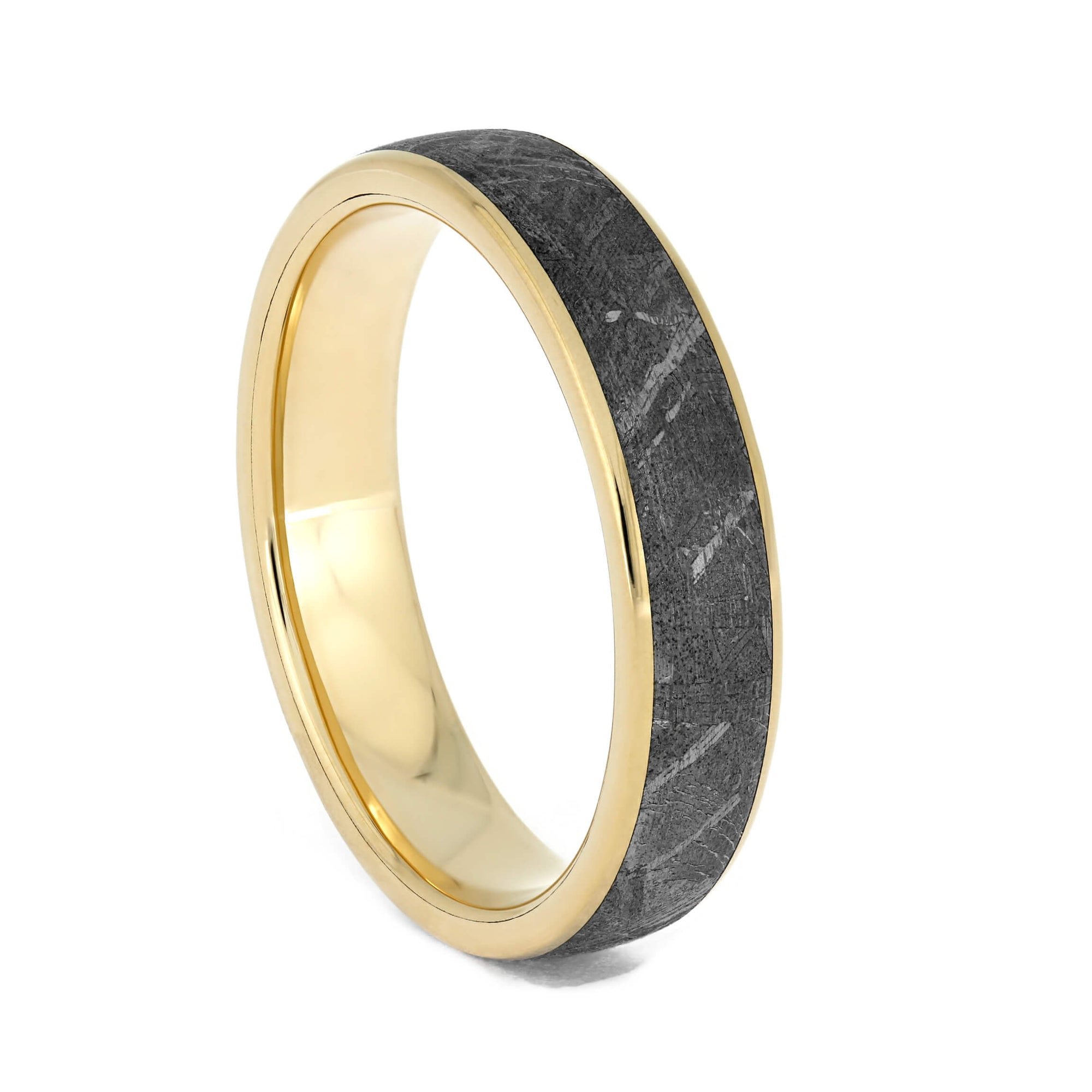 Authentic Meteorite Women's Wedding Band in Yellow Gold-4021 - Jewelry by Johan