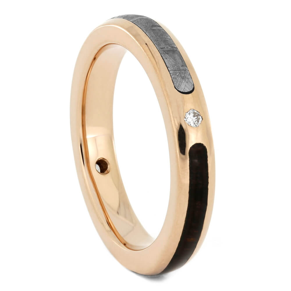 Thin Diamond Wedding Band with Rose Gold and Meteorite-4022 - Jewelry by Johan