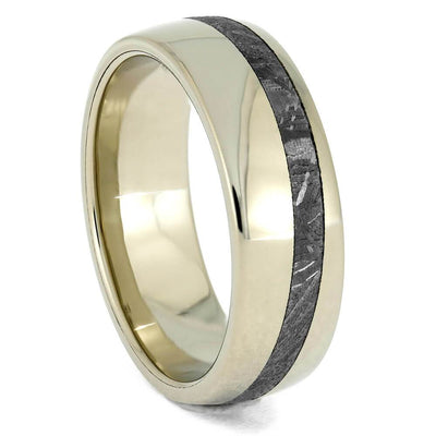 Offset Meteorite Men's Wedding Band in White Gold, Slanted Design-4026 - Jewelry by Johan