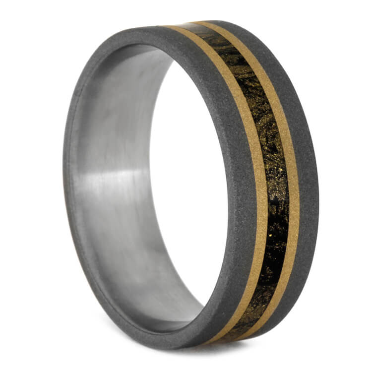 Sandblasted Titanium Ring With Mokume And Gold Stripes, Size 13.5-RS9596 - Jewelry by Johan