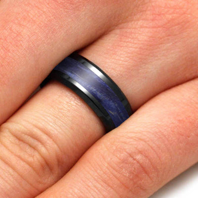 Blue Wood Men's Ring in Black Ceramic With Beveled Edges-4033 - Jewelry by Johan