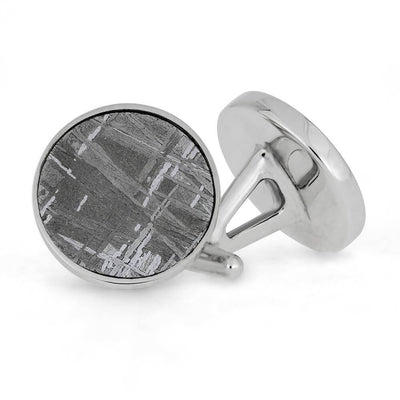 Round Meteorite Cuff Links, In Stock-SIG3042 - Jewelry by Johan
