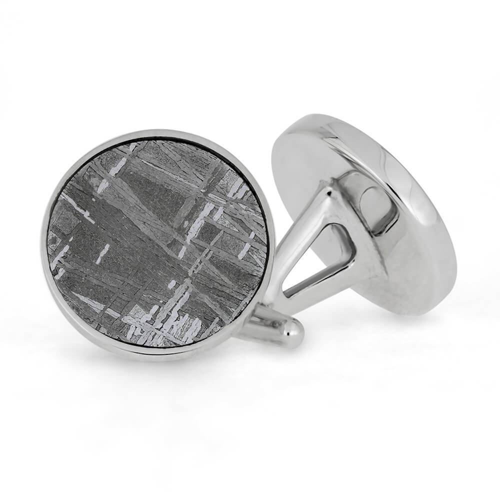 Custom Round Gibeon Meteorite Cuff Links in Sterling Silver-4480