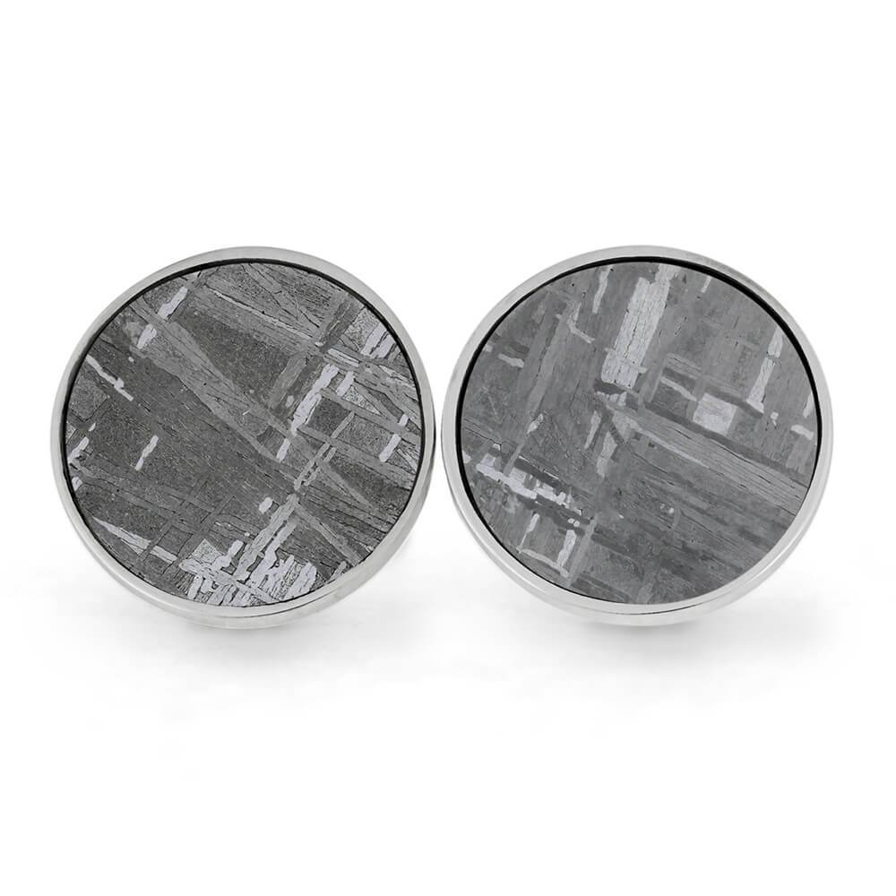 Round Meteorite Cuff Links, In Stock