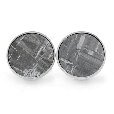 Custom Round Gibeon Meteorite Cuff Links in Sterling Silver-4480 - Jewelry by Johan