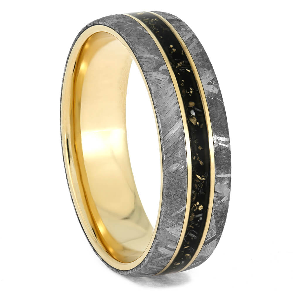 Meteorite Wedding Band for Man With Black Stardust™-4040 - Jewelry by Johan