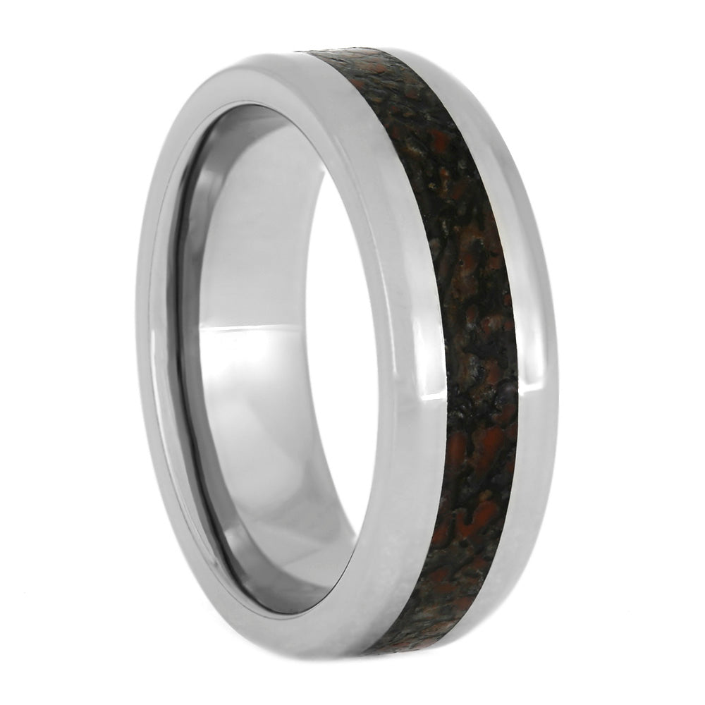 Dinosaur Bone Men's Wedding Band With Beveled Edge-4041 - Jewelry by Johan