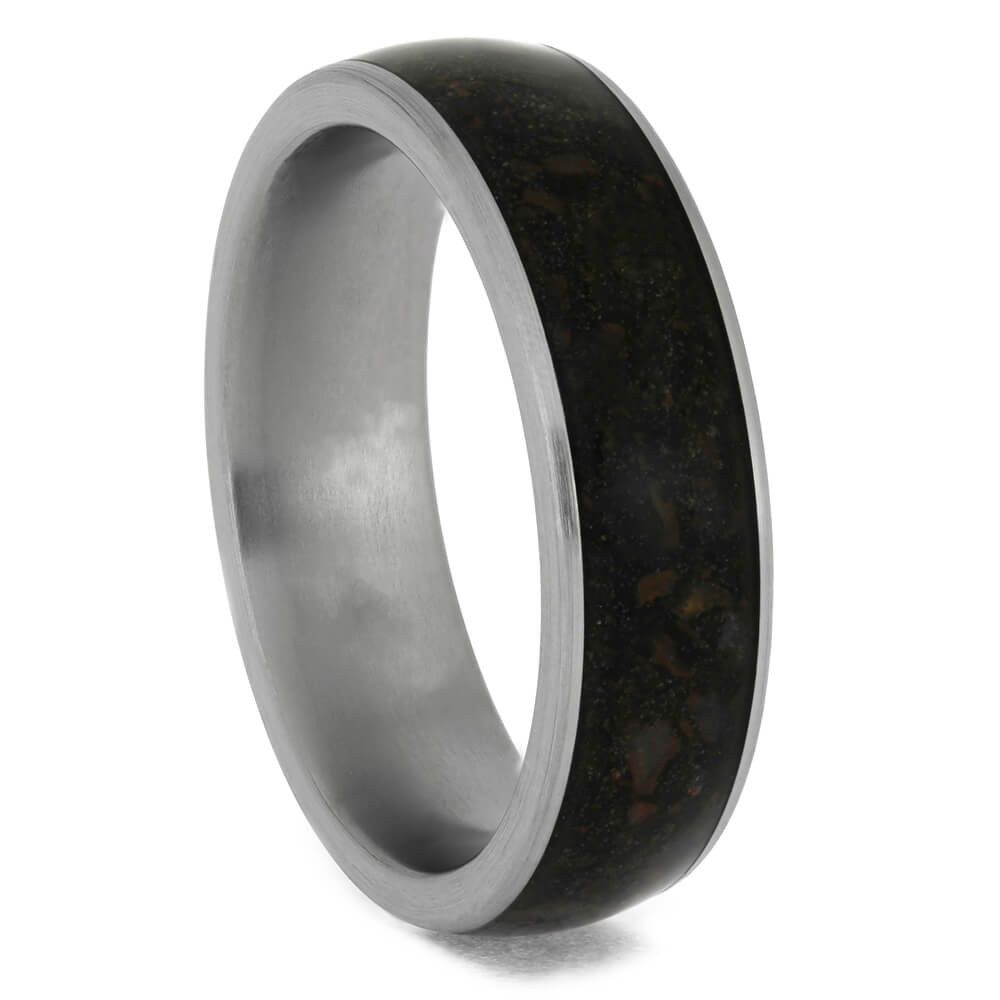 Crushed Dinosaur Bone Wedding Band in Brushed Titanium-4042 - Jewelry by Johan