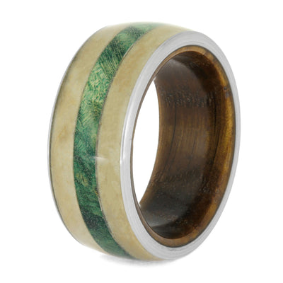Pet Memorial Ring with Green Box Elder Burl and Whiskey Barrel Wood Sleeve-4043 - Jewelry by Johan