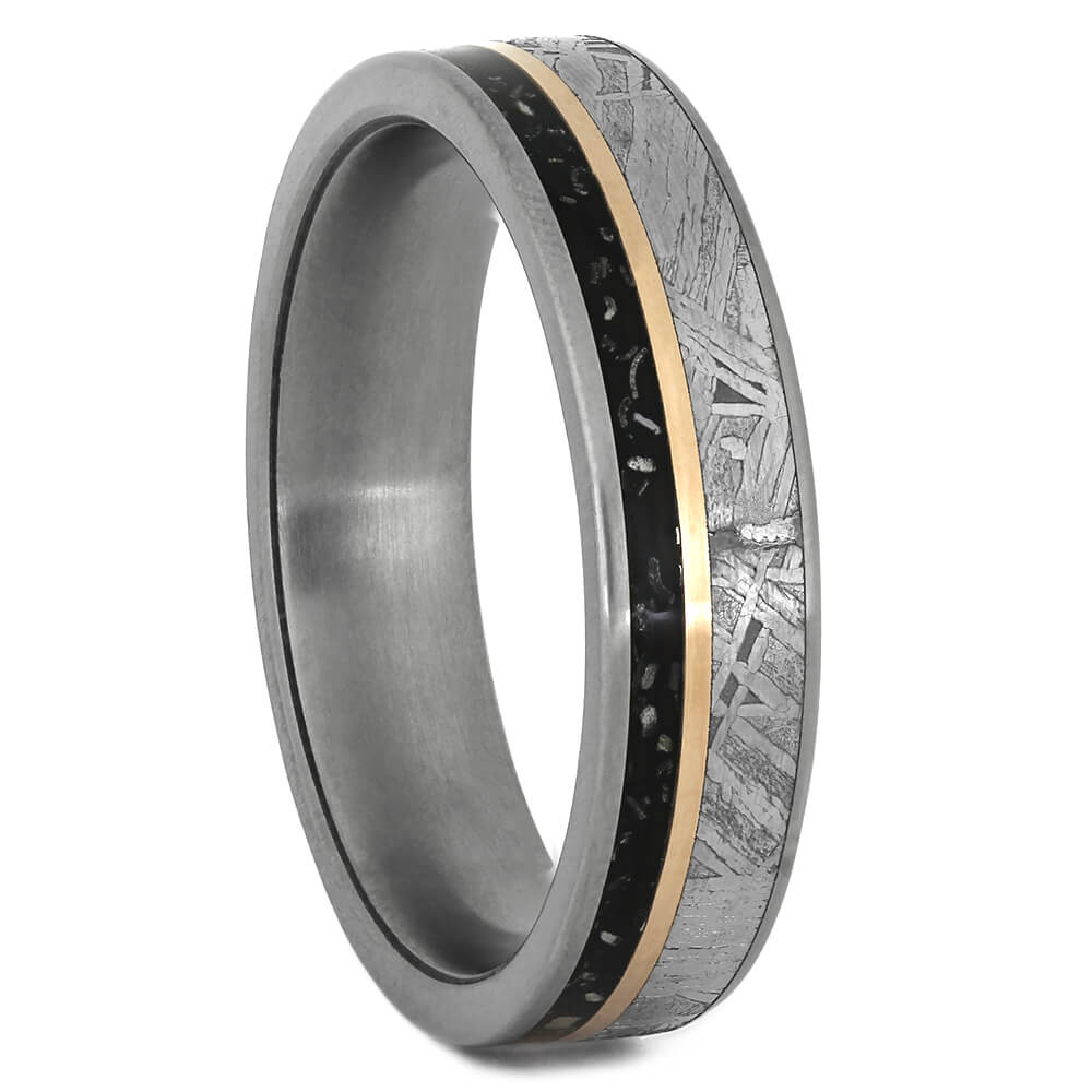 Thin Wedding Band with Rose Gold Pinstripe and Meteorite-4045 - Jewelry by Johan