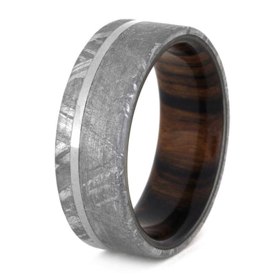 Meteorite Wedding Ring With Wood Sleeve, Ironwood Ring-3305 - Jewelry by Johan
