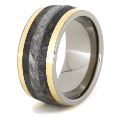 Titanium Ring With Dinosaur Bone