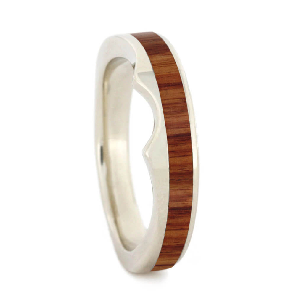 Custom Tulipwood Wedding Band in White Gold-4060 - Jewelry by Johan