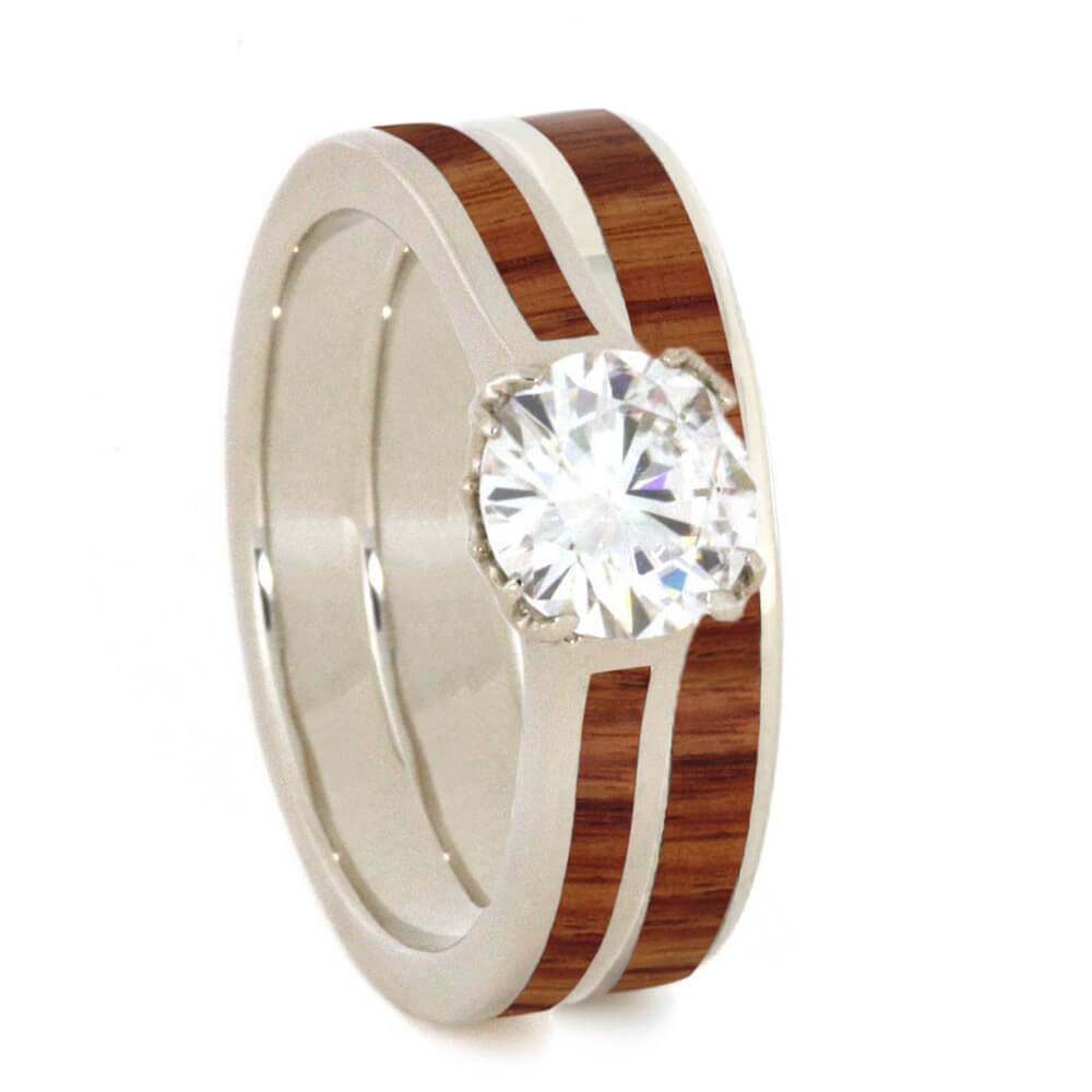 Moissanite and Wood Bridal Set