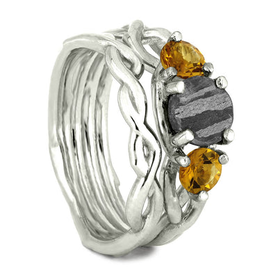 Citrine and Meteorite Bridal Set in Sterling Silver-4066 - Jewelry by Johan