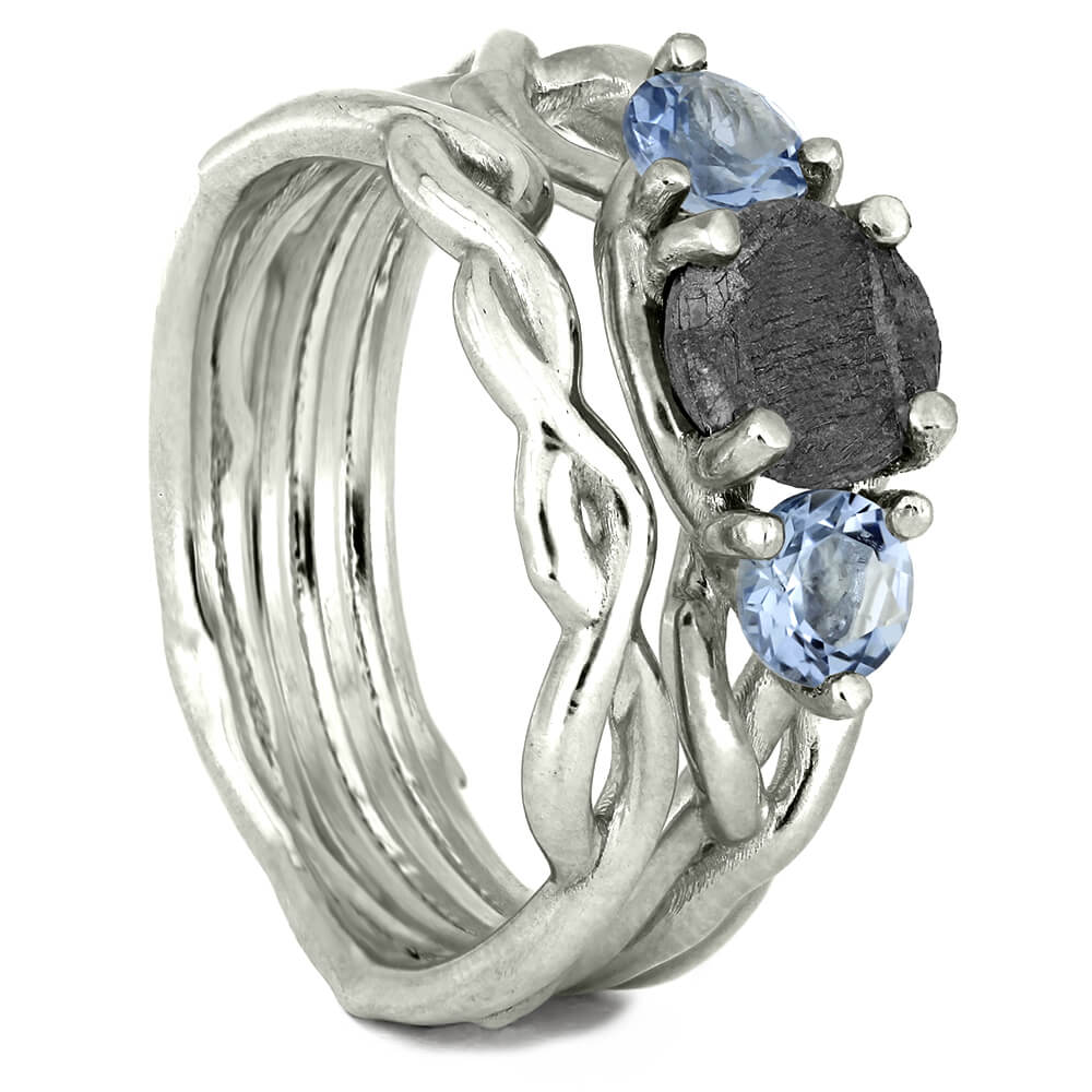 Aquamarine and Meteorite Bridal Set in Sterling Silver-4067 - Jewelry by Johan