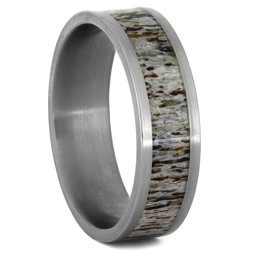 Brushed Titanium Ring with Deer Antler Inlay-4068 - Jewelry by Johan