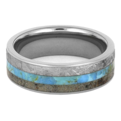 Turquoise Men's Wedding Band, Meteorite Ring With Dino Bone-3501 - Jewelry by Johan