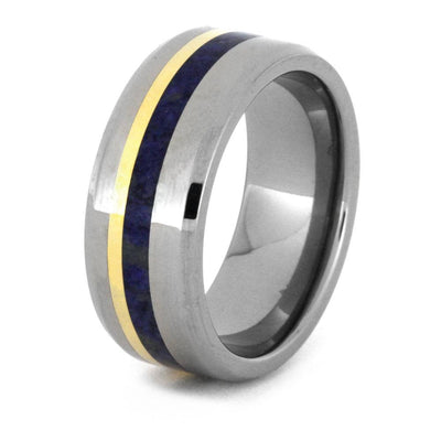 Lapis Lazuli Wedding Band, Titanium Ring with 18k Gold Pinstripe-3224 - Jewelry by Johan