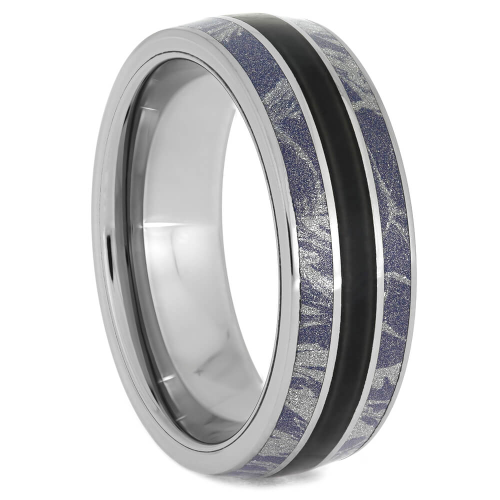 Black Jade Wedding Band with Blue and White Mokume-4073 - Jewelry by Johan