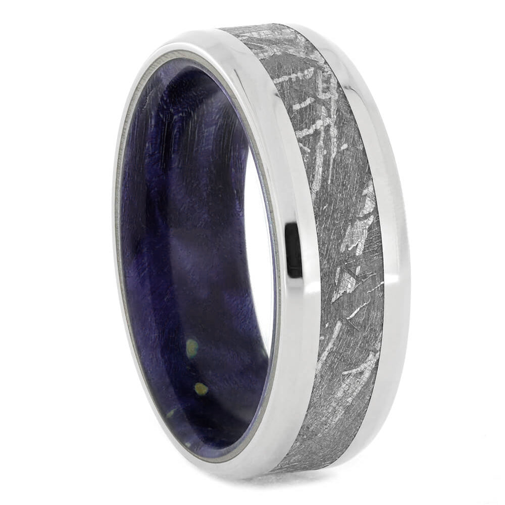 Meteorite Men's Wedding Band With Purple Wood Sleeve-4074 - Jewelry by Johan