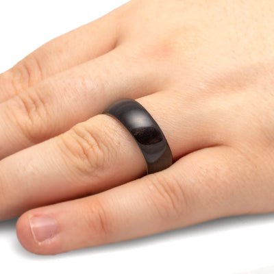 Blackwood Ring With Deer Antler Sleeve-4075 - Jewelry by Johan