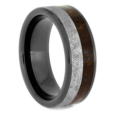 Black Ceramic Wedding Band with Meteorite and Dinosaur Bone-4077 - Jewelry by Johan