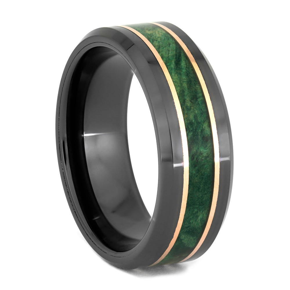 Green Wood and Black Ceramic Ring with Copper Pinstripes, Manly Wedding Band-4081 - Jewelry by Johan