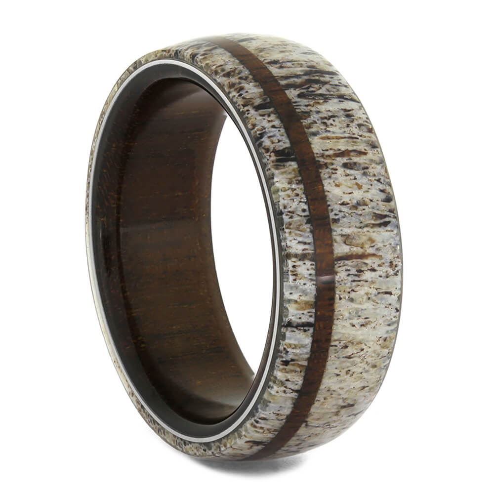 Deer Antler Wedding Band with Ipe Wood Sleeve-4082 - Jewelry by Johan
