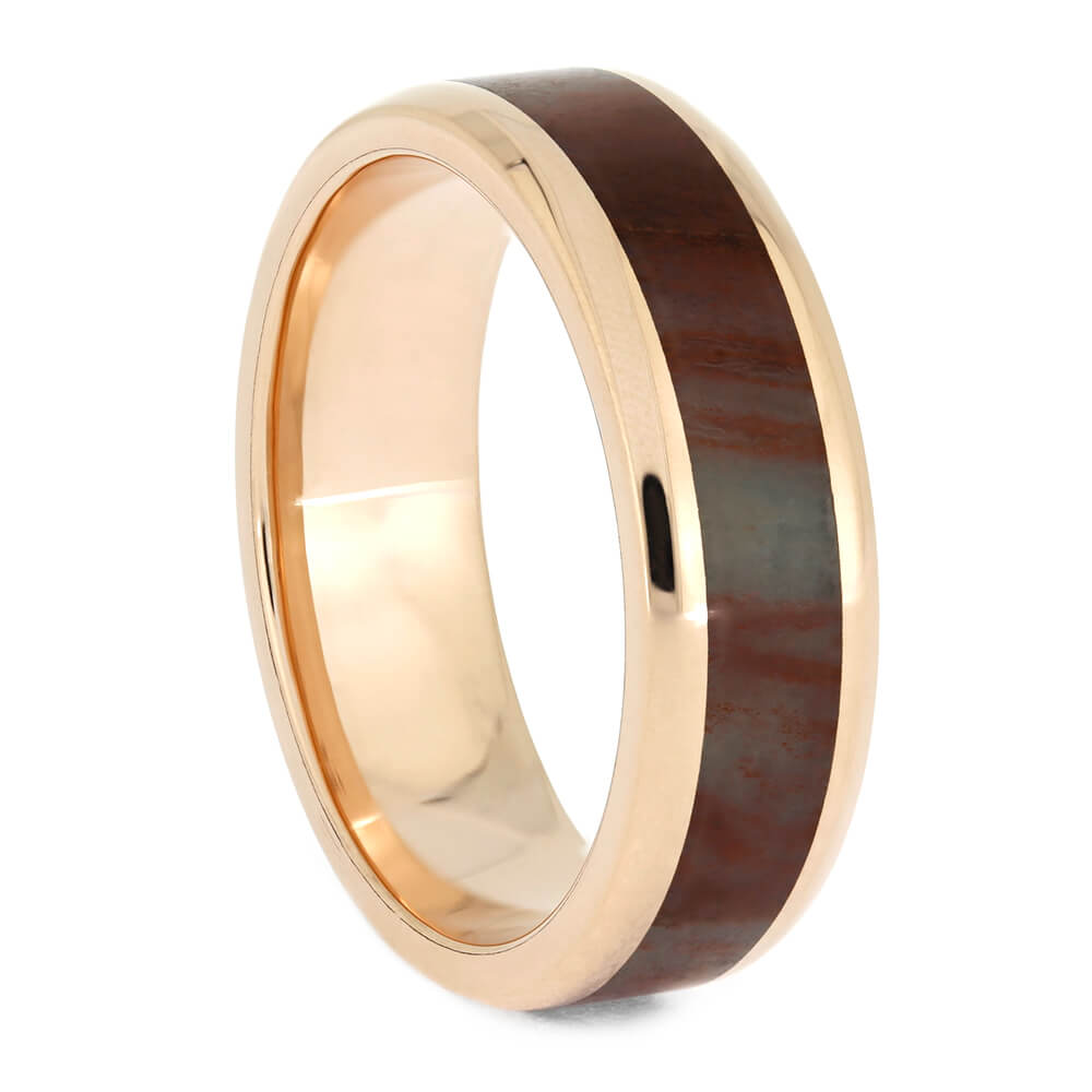 Petrified Wood Wedding Band in Rose Gold-4083 - Jewelry by Johan
